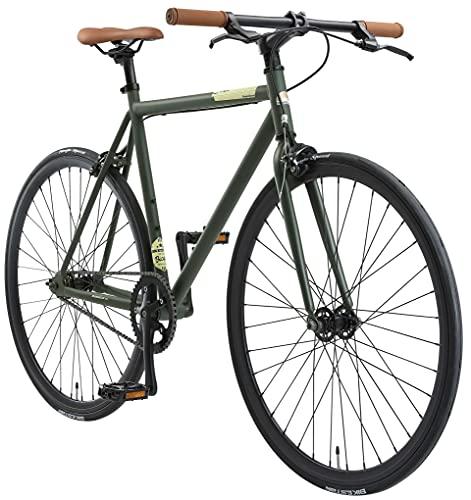 BIKESTAR Bici da Città Citybike Single Speed Fixie 28'   CTB Bici da Strada Telaio 53 cm Retro Vintage   Verde