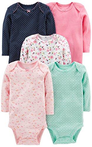 Simple Joys by Carter's - Body a maniche lunghe da bambina, confezione da 5 ,Pink/Navy/Mint ,3-6 Months