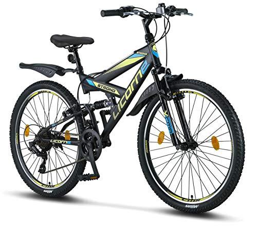 Licorne Bike Strong V 26 pollici Mountain Bike Fully, MTB, adatto a partire da 150 cm, V freno anteriore e posteriore, cambio 21 marce, sospensioni complete,bicicletta da ragazzo e da uomo