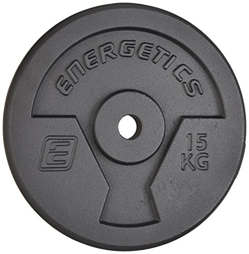 Energetics Hantelscheibe Guss 10 kg, Disco per bilanciere. Unisex-Adulto, Nero