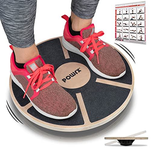 POWRX Balance Board in Legno (Ø 39 cm) - Tavoletta propriocettiva Ideale per Esercizi di Equilibrio, Forza e coordinazione - Superficie Antiscivolo + PDF Workout