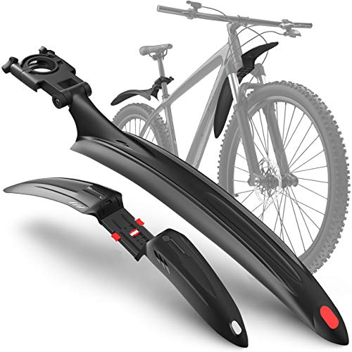 """Velmia Parafango Bicicletta [MTB & ATB / 24 """"- 29""""] con Sospensione - Set Parafango per Protezione Schizzi e Sporco; con Riflettori"""