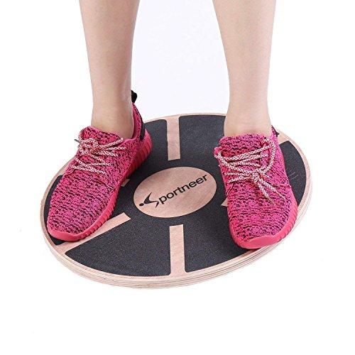 Sportneer Wooden Balance Board, 40cm Exercise Balance & Stability Trainer (Nero)