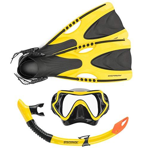 Osprey - Set da Snorkeling per Adulti con Pinne, 3 Pezzi, con Maschera boccaglio e Pinne, per Uomo e Donna, Diversi Colori