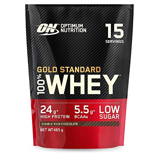 Optimum Nutrition Gold Standard 100% Whey Proteine in Polvere con Proteine Isolate, Aminoacidi e Glutammina per la Massa Muscolare, Doppio Cioccolato, 15 Porzioni, 465 g, il Packaging Potrebbe Variare