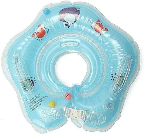 Salvagente Collo Neonato - Regolabile Galleggiante Gonfiabile del Collo di Nuoto dell'infante per 1-18 Mesi Baby (Blu)