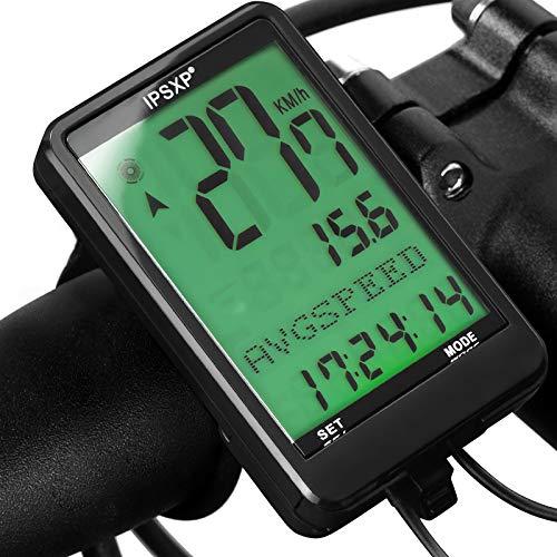 IPSXP Bike Computer Wired Tachimetro e contachilometri per Bicicletta Retroilluminazione Impermeabile con Display LCD Digitale per Ciclismo all'aperto e Regali Multifunzione Fitness