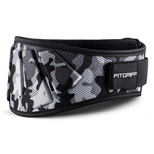Fitgriff® Cintura Palestra V1 - Cintura Sollevamento Pesi Neoprene - per Donna & Uomo - Pwerlifting, Bodybuilding, Crossfit, Squat - Camo Large