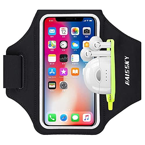 HAISSKY Fascia da Braccio con Borsa Auricolare, Fascia Sportiva da Braccio Porta Cellulare Braccio Portacellulare Armband per iPhone 12 Pro/11 Pro/11/XR/XS/X Galaxy S20/S10/S9/S8 Fino a 6,5'