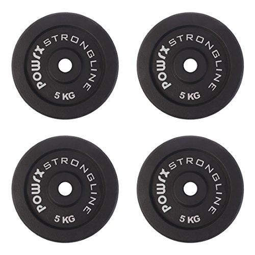 POWRX - Dischi Pesi ghisa 20 kg Set (4 x 5 kg) - Ideali per manubri e bilancieri con Braccio da 30 mm + PDF Workout (Nero)