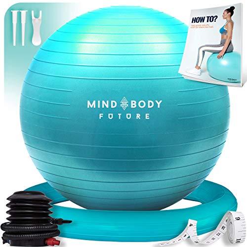Mind Body Future Palla Svizzera da Ginnastica Swiss Gym Ball per Fitness, Yoga, Pilates, Gravidanza. Robusta, Antiscivolo e Ipoallergenica. Fitball 65 cm con Anello e Pompa. Turchese