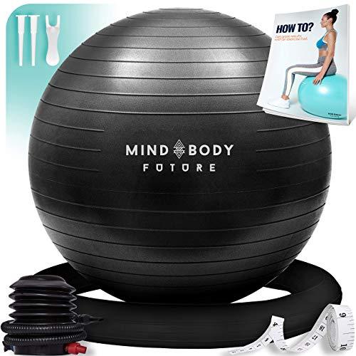 Mind Body Future Palla Svizzera da Ginnastica Swiss Gym Ball per Fitness, Yoga, Pilates, Gravidanza. Robusta, Antiscivolo e Ipoallergenica. Fitball 55 cm con Anello e Pompa. Nero
