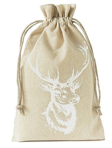 10 Sacchetti in lino con stampa cervo e cordoncino in cotone di chiusura, sacchetto lino, confezione regalo, decorazioni, caccia, misura 23x15 cm