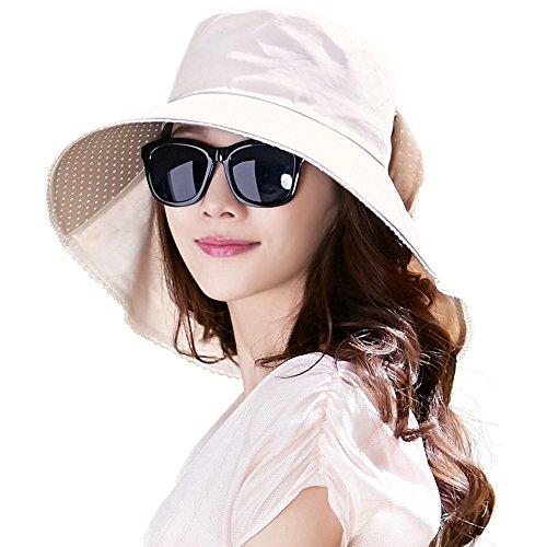 Comhats - Cappello da sole da donna con visiera larga UPF 50+, ripiegabile, in cotone UV, per safari, passeggiate, giardinaggio, con protezione per il collo e sottogola 69053_Beige M