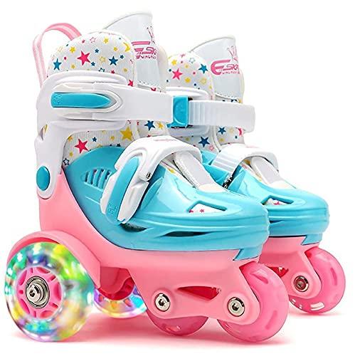 Pattini a rotelle quadrupli per bambini Pattini a rotelle Pattini a rotelle a 3 punti Vendita Pattini a rotelle per ragazze Ragazzi con ruote con doppio freno regolabile Blue,S(27-30)