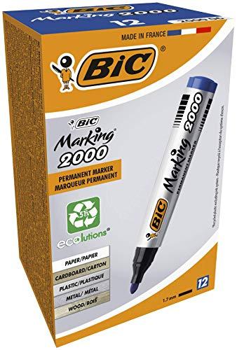 BIC Marking 2000 ECOlutions Indelebili Con Punta Media Tonda - Blu, Confezione Da 12