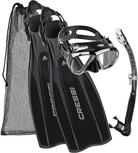 Cressi Kit Prolight per Immersioni/Snorkeling, Pinne Regolabili + Maschera Big Eyes & Snorkel Alpha Ultra Dry, Nero, XL/XXL (46/47)