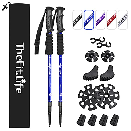 TheFitLife Bastoni da Trekking e Camminata Nordica - Confezione da 2 Pezzi con Ammortizzatore e Sistema di Blocco Rapido, Telescopico, Estensibile, Ultraleggero per Escursionismo Campeggio Camminate