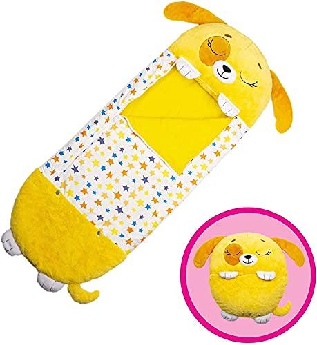 KEITE 2 in 1 Sacco A Pelo per Bambini, Comodo E Interessante Sacco A Pelo Caldo Morbido Caldo Cartone Animato 3-6 Anni (cane giallo)