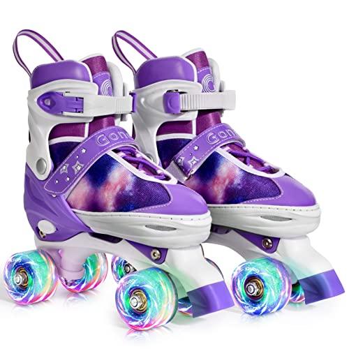 Gonex Pattini a Rotelle Regolabili per Bambini/Adulto,4 Ruote Illumina LED Sicuri,Veloci e Comodi Roller Quad Ideali per Principianti Adulti Donna