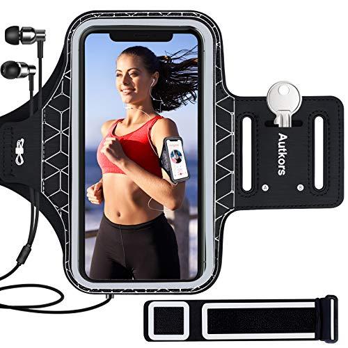 Autkors Fascia da Braccio Portacellulare per Correre, Sweatproof Porta Cellulare Braccio Sportiva con Tasca per Chiave e per Carte per iPhone 12/12 Pro/11/11 Pro/XR/X/8/7, Galaxy S10/S9 (Fino a 6.1')