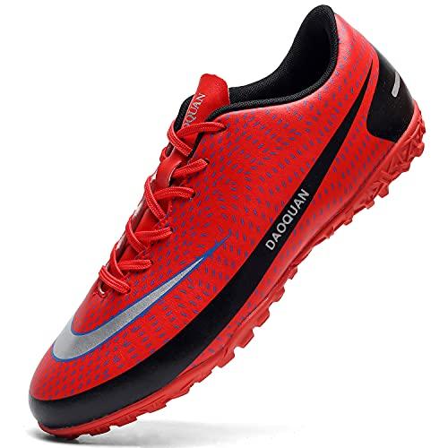 Topwolve Scarpe da Calcio Uomo Professionale Sportivo all'aperto di Calcio Teenager Scarpe da Calcetto Unisex Scarpe da Allenamento per Calzature Rosso 43EU