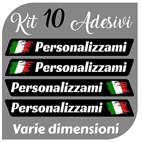 CrisPhy Set di x10 Adesivi in Vinile con Il Tuo Nome con la Bandiera dell'Italia – Bici, Casco, Racchetta da Paddle, Skateboard, Auto, Moto, ECC (Font Pack 2)