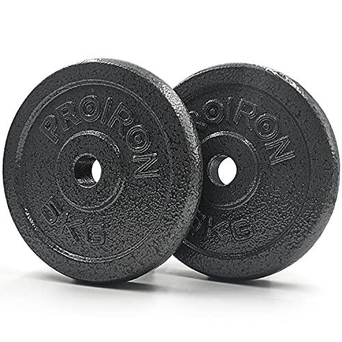 PROIRON Dischi Palestra in Ghisa con Diametro Ø 25 mm-Dischi per Bilanciere e Manubri 5 kg x 2