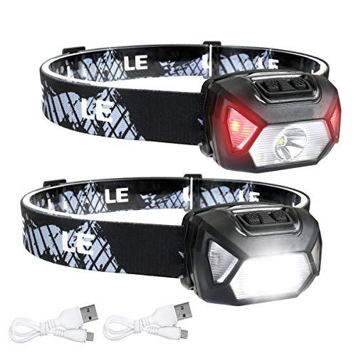 LE Torcia Led Frontale D500 (2 Pezzi), Lampada da Testa USB Ricaricabile Torcia LED, 6 Modalità di Luce, IPX6 Impermeabile, per Campeggio, Corsa, Jogging, Pesca