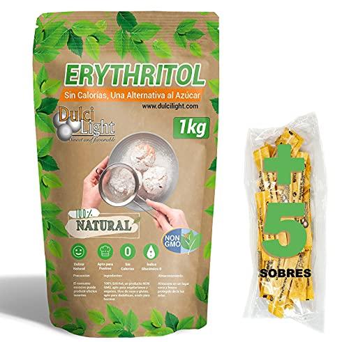 Dolcificante Eritritolo 1kg 100% Naturale 0 Calorie DulciLight   5 bustine di regalo di dolcificante Bruno.   DulciLight Il sapore naturale dello zucchero   Ideale per keto diet  