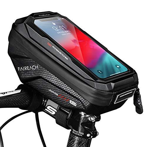 Faireach Borsa Manubrio Bici, Impermeabile Porta Smartphone Bici con Touch Screen, Porta Cellulare Bici Borsa Telefono Bici per Smartphone Fino a 6.7 ''