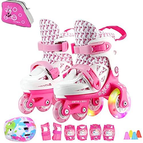 Sumeber Inline Pattini a rotelle per Bambini, Linea Tripla, Lunghezza variabile, per Interni ed Esterni, Rosa, Più colori disponibili