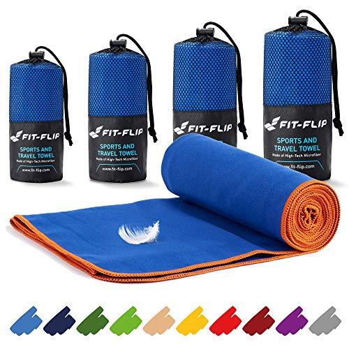 Asciugamani in microfibra – 16 colori, varie misure – compatto e ad asciugatura rapida – asciugamani microfibra palestra e asciugamani microfibra spiaggia (40x80cm blu scuro - bordo arancione)