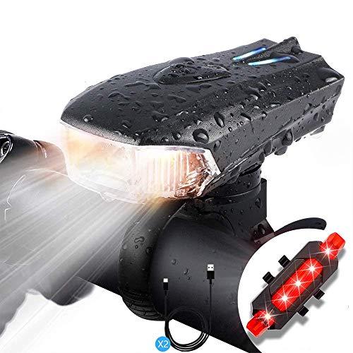Luci Bicicletta LED Ricaricabili USB, Luce Anteriore e Posteriore Super Luminoso con 400 Lumen & Impermeabile IPX5, Per con 5 Modalità di Illuminazione per Bici Strada e Montagna-Sicurezza Notte