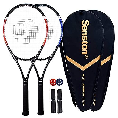 Senston, racchetta da tennis professionale da 27', con 2 giocatori, ottima presa di controllo, con coperchio, smorzatore di vibrazioni