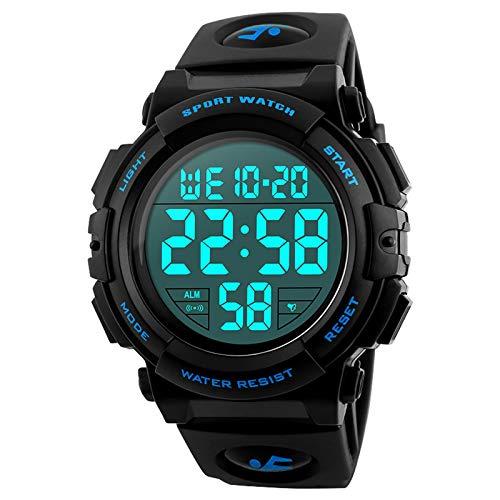 Orologio digitale sportivo da uomo, per corsa all'aperto, impermeabile fino a 5atm, orologio militare sportivo con cinturino largo, orologio LED con allarme