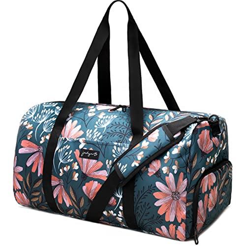 Jadyn B Weekender Bag - 56 cm./ 52L - Borsone con Tasca per Scarpe (navy floral)