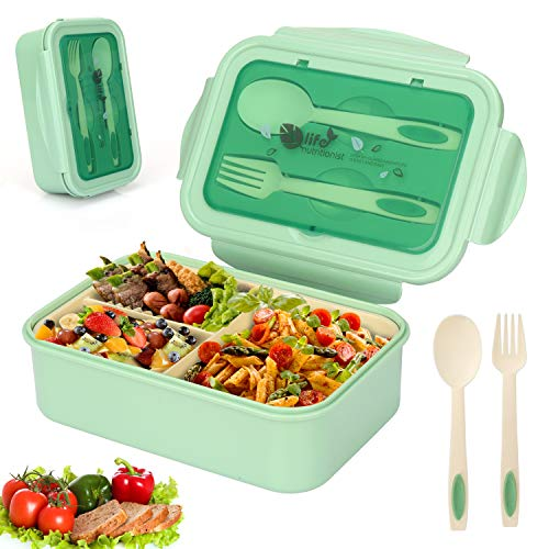 Sinwind Lunch Box, Porta Pranzo, Bento Box con 3 Scomparti e Posate(Forchetta e Cucchiaio), per Microonde e Lavastoviglie/Approvato dalla FDA/No BPA. (Verde)