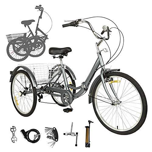 Sehrgo ZEHNHASE Triciclo per Adulti 20 Pollici, 7 Marce, con Cestino di acquisto, Telaio in Lega Trike Bike Pieghevole per Adulti e Anziani - Grigio Argento (20 Pollici)