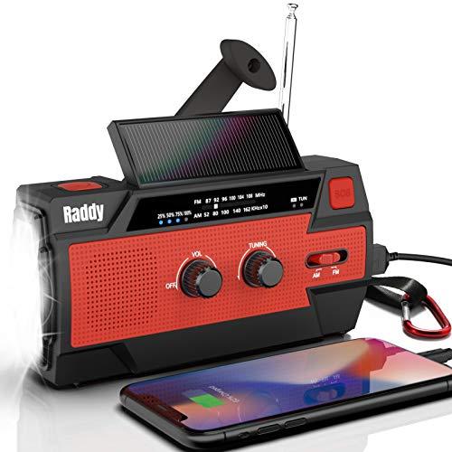 Raddy SW3 Radio Dinamo con Ricarica Manuale Powerbank da 4000mAh Radio FM/AM Portatile di Emergenza ad Solare con Torcia, Allarme SOS per Campeggio ed Escursioni (Rosso)