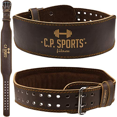 C.P. Sports - Cintura per sollevamento pesi, in vera pelle, ideale per Powerlifting, con schiena imbottita, misura L (95-123 cm), colore: Marrone
