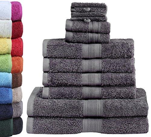 GREEN MARK Textilien - Set di 10 Asciugamani in Spugna di Qualità Premium, 100% Cotone, Grigio Antracite