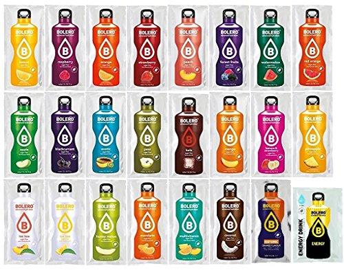 Bolero, pacchetto di benvenuto, 24 varietà di bevande istantanee in polvere, senza zucchero, addolciti con Stevia, incluso un miscelatore da 500 ml