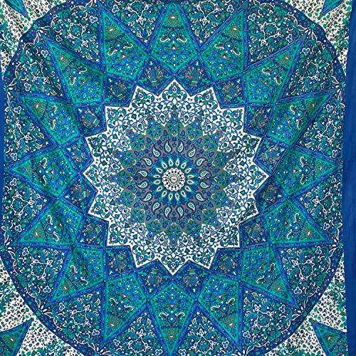 momomus Arazzo Mandala - Stella - 100% Cotone, Grande, Multiuso - Telo Mare Antisabbia Matrimoniale, Leggero, XXL - Pareo - Teli Mare Grandi, Blu, 210x230 cm